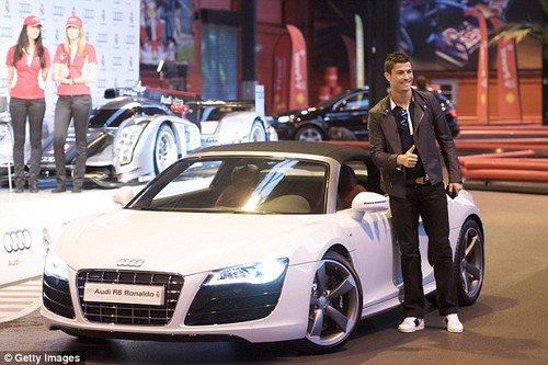 Ronaldo pictured posing with his new Audi R8 at an event in Madrid in 2011