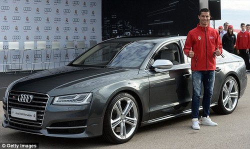 In 2014, Ronaldo collected an Audi S8 worth£82,000 with a top speed of 155mph