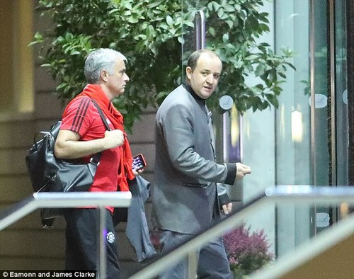 Manchester United manager Jose Mourinho makes his way into the Lowry Hotel on Monday