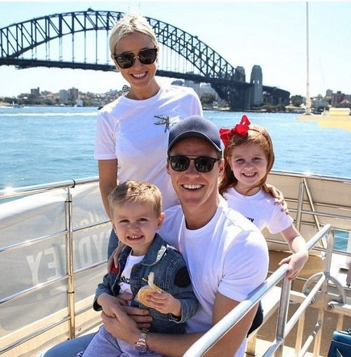 Family: While Roxy assured the radio stars that she hadn't been pushed into menopause yet, she did admit that she has no plans to have any more children soon (Roxy pictured with children (right), six, and Hunter (left), three and husband Oliver Curtis)