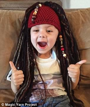 Thumbs up! The wigs are by no means just for girls, boys too can choose from Jack Sparrow costumes (left) or super hero inspired crochet caps (right)