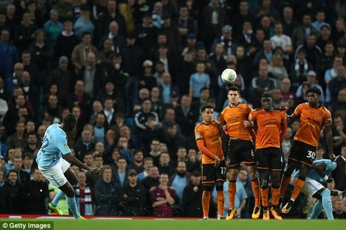 Toure, pictured taking a free-kick, said the ball was too light and difficult to use