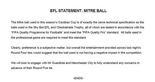 EFL released a statement on the Carabao Cup ball after Guardiola and Toure criticised it