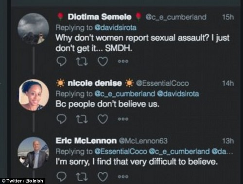 See the irony here? A man named Eric McLennon is being called out after telling a woman he didn't 'believe' that assault victims are afraid people won't believe them