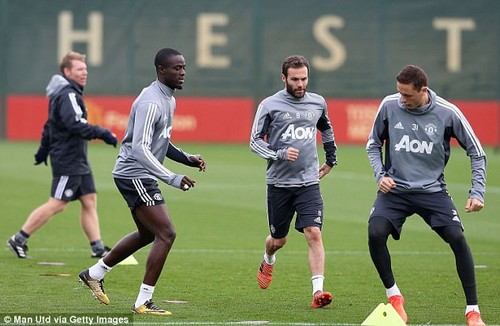Eric Bailly, Juan Mata and Nemanja Matic are put through their paces in training on Thursday