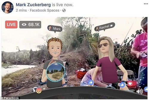 Some have questioned whether the sight of one of the world's wealthiest men in cartoon form against the backdrop of a disaster zone was entirely appropriate.Zuckerberg (L) appeared in the stream alongside Facebook's head of social virtual reality, Rachel Franklin (R)