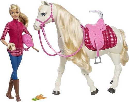 The world's most popular doll now has her most interactive horse ever with the Barbie DreamHorse Doll and Horse. The horse has 30 features including walking, eating carrots and little ones can even ask it questions - with the horse nodding or shaking its head