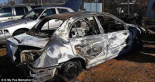 Chambers had burns on about 93 percent of her body when she was found along a rural back road beside her burnt out car (pictured) on December 6, 2014