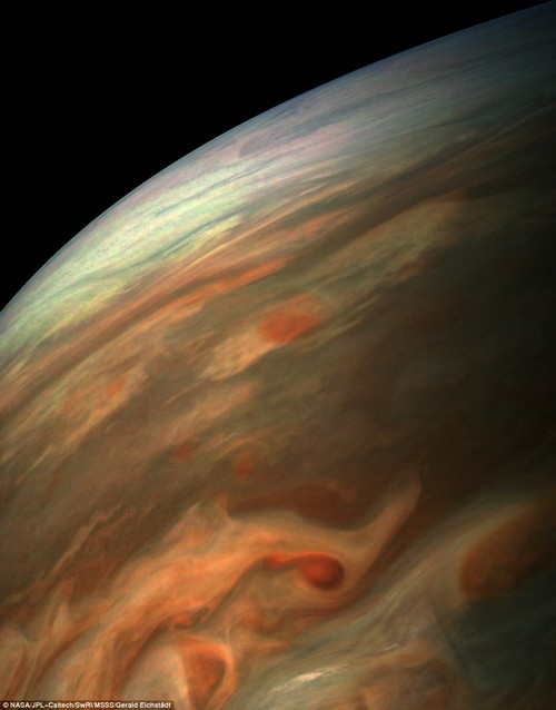 NASA has said goodbye to its Cassini spacecraft, bringing its long-running Saturn mission to an end ¿but, not far from the ringed planet, the space agency is observing another gas giant in our solar system. A stunning new image captured by the Juno spacecraft has revealed a look at the swirling clouds over Jupiter, offering further evidence on its turbulent nature
