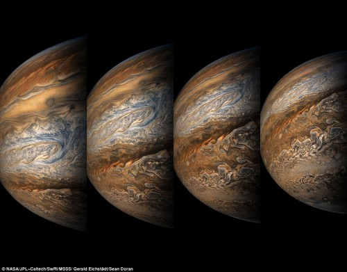 NASA's Juno spacecraft performed its eighth flyby of Jupiter and captured stunning images of the planet.The photos - captured on September 1 - show various points of interest of the giant gas planet in incredible detail. The four-photo series begins with a head-on look at the planet before showing Jupiter tilted upward, revealing the planet's stormy south pole