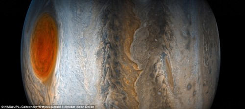 The striking vista features the planet's famed Great Red Spot fading from from view while the dynamic bands of the southern region come into focus. It was captured using data taken with the JunoCam on July 10, as the Juno spacecraft performed its seventh close flyby of Jupiter