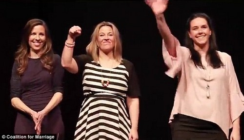 In the latest Coalition For Marriage video, Cella White (right) and Heidi McIvor (left) reiterate their stance on gay marriage, alongside Marijke Rancie (centre)
