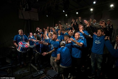 Iceland's players and coaching staff took to a stage inReykjavik city centre to celebrate reaching the 2018 World Cup