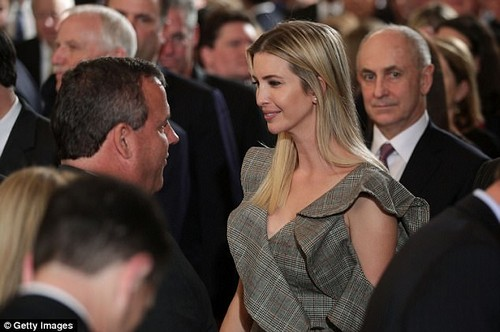 Playing catch up: Ivanka gave Christie a warm smile while they talked among the crowd