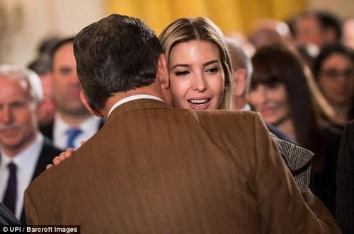 Working the crowd: Ivanka was also seen hugging Democrat Senator Joe Manchin