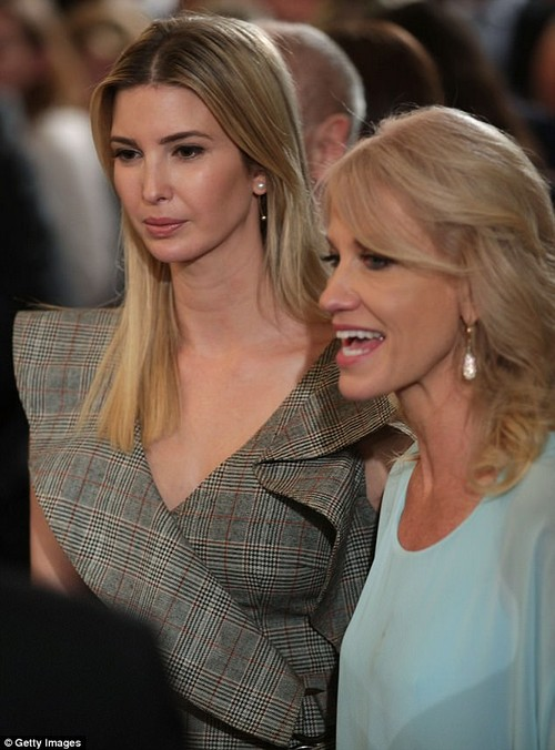 Old friends: Ivanka was photographed standing next to White House counselorKellyanne Conway at the event
