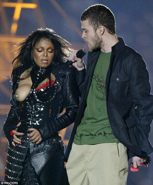 Scandal: Janet's stage performances always cause a stir - including her now-infamous Super Bowl show in 2004 - during which Justin Timberlake exposed her breast (pictured)