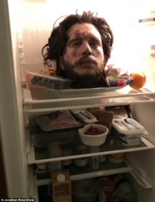 Oh dear:Kit Harington's romance with Rose Leslie was put in jeopardy after he performed a graphic April Fool's prank on the actress - in which he placed a model of his severed head in their fridge, seemingly a prop borrowed from the GoT set