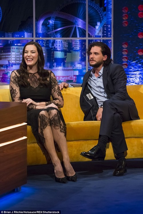 Suited and booted: Gunpowder co-stars Liv Tyler, 40, and Kit reminisce about their engagements. Liv's fiance, Dave Gardner, popped the question in November 2015