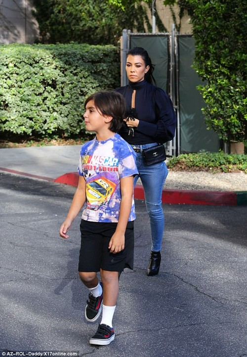 Back on mom duty: Kourtney took son Mason to art class after visiting the studio