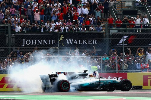 Fans salute Hamilton as he performs donuts on the track following his fourth world championship success
