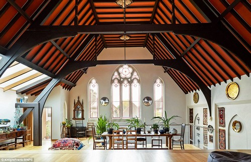 Mr Holmes, an art restorer and painter, only finished his epic renovation four years ago but has decided to sell so he can start a new project. The three-bedroom house in East Molesey, Surrey, dates back to 1886. It was built due to demand for a non-Catholic place of worship