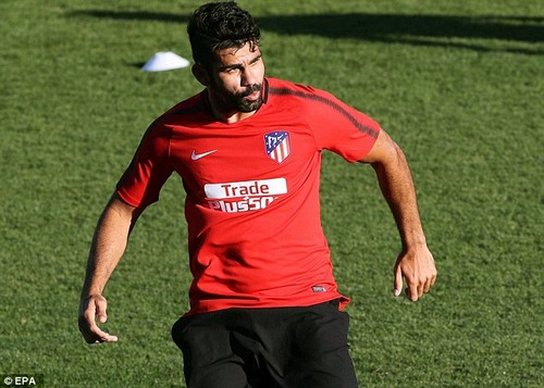 Atletico Madrid's Diego Costa was in training for his new side on Monday afternoon