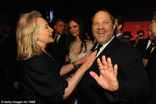 Weinstein maxed out his political contributions to Clinton with a $5,400 check to her 2016 campaign and $30,000 to her Hillary Victory Fund (Clinton, left, and Weinstein pictured at the TIME 100 Gala in April 2012)