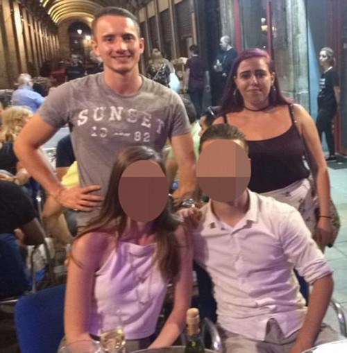 Holiday fling...? Sophie says she slept with 'heartless' Jesse, top left, during her stay in Barcelona - and claims he bombarded her with text messages to get her to fly to see him in Amsterdam, a claim he denied