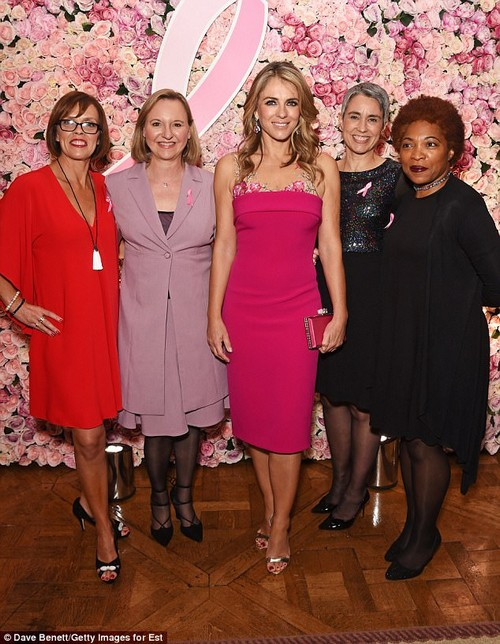 Getting together: Liz beamed widely for cameras besideBreast Cancer survivors Sally Broom, Natalie Coombs, Paula Beetlestone and Annette Jackson at the bash (L-R)