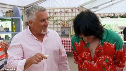 Pasta la vista: Viewers were left distracted by a much more unusual aspect of the Channel 4 show on Tuesday night - the alarming shade of judge Paul Hollywood's tan