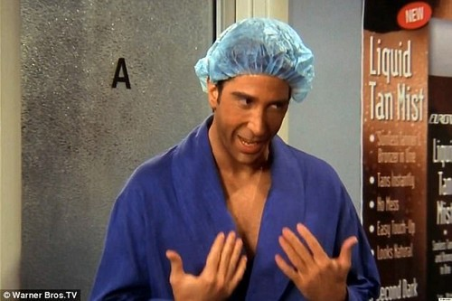 Hmm:Amused fans compared the bold mahogany look to Ross Geller's spray tan fail in series ten of Friends