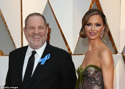 Georgina Chapman, 41, announced she is leaving husband Harvey Weinstein, 65, (both pictured in February) on Monday, five days after he said she was '100 per cent' behind him