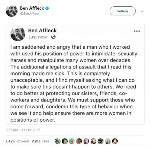 Affleck only made the remarks after five days of widespread condemnation of Weinstein - and after being asked repeatedly for comment by DailyMail.com