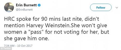 Shamed: CNN anchor Erin Burnett accused Weinstein of getting a 'pass' from Hillary Clinton