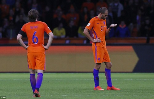 Holland stars Daley Blind and Bas Dost appear dejected after the final whistle as their efforts are just not enough