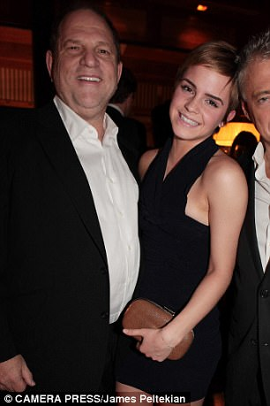 Former friends: Emma Watson, pictured above with Weinstein at a pre-BAFTA dinner in 2011