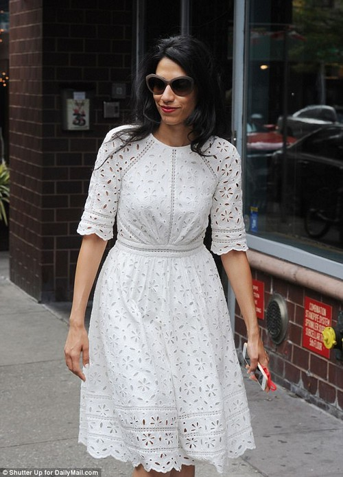 Keeping the routine: Abedin has been seen several times doing the school run since Winder's sentencing. She is pictured after dropping her son off at school last month
