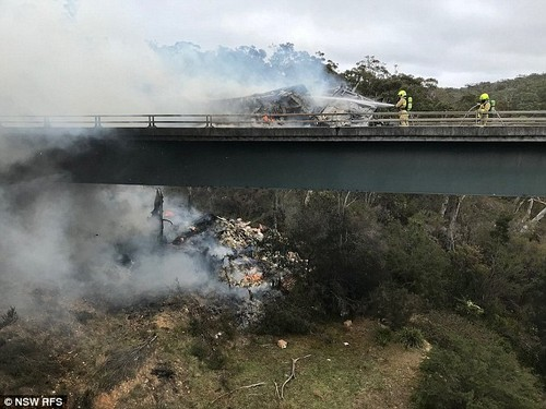 Aftermath: Nine fire crews worked to extinguish the truck and a grass fire sparked by debris falling from the bridge