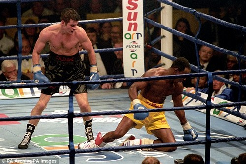 Joe Calzaghe beat Chris Eubank to win the vacant WBO world super middleweight title in 1997