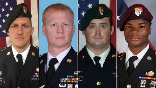 Staff Sgt. Bryan C. Black, Staff Sgt. Jeremiah W. Johnson, Staff Sgt. Dustin M. Wrigh, Sgt. La David T. Johnson