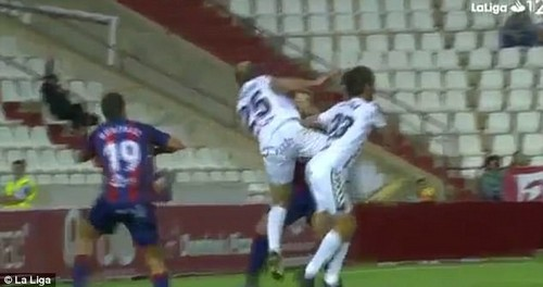 The left back was caught by the studs of his team-mateRoman Zozulya in the 0-0 draw