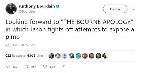 Bourdain was in full attack mode on Tuesday. In this tweet he lashes out against Matt Damon who- it's been claimed- aided Weinstein in stopping an expose from emerging