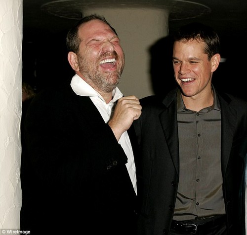Matt Damon pictured with Weinstein, is alleged to have been complicit in helping to squash a New York Times expose about Weinstein in 2004