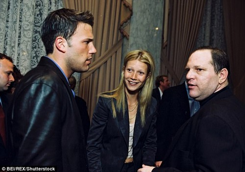 Paltrow's account of sexual harassment to the New York Times on Tuesday happened while she was dating Brad Pitt. She dated Ben Affleck next- all three pictured at a Miramax party in 1997