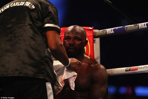 Takam was inspected on several occasions after two huge cuts above his eyes caused a relentless outpouring of blood
