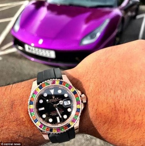 Among videos recovered by police were two clips shot by Ali showing him flashing his gold Rolex as he smashes the speed limit in the white supercar (one of his watches, pictured)