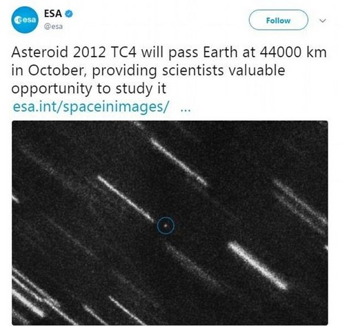 The asteroid, dubbed 2012 TC4, first flitted past our planet in October 2012 at about double the distance of its next expected pass, before disappearing. In this tweet, the ESA announced they calculate it passingat a distance of around 44,000 kilometres (27,300 miles)