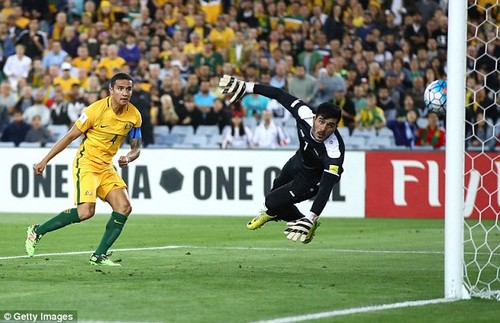 Syria's lead did not last long, though, as former Everton star Cahill headed beyond the keeper