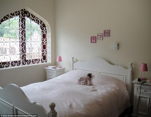 There are four bedrooms in the main house and another sleeping area in a separate annex that also features a games room